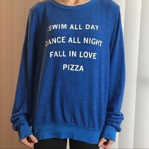 NWOT Wildfox Swim All Day blue sweatshirt size XSM